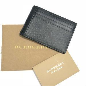 Burberry London Check Money Clip Card Case Black